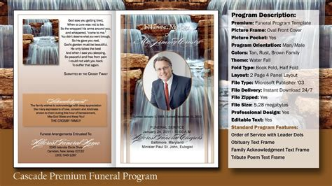 Funeral Program Cascade Template Youtube Free Sle Funeral Program Template