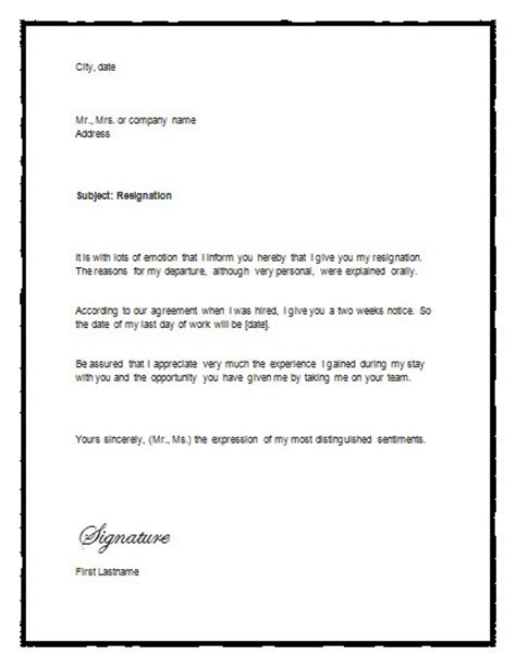 Resignation Letter Notice Exle 5 Free Two Weeks Notice Letter Templates Word Excel Pdf Formats