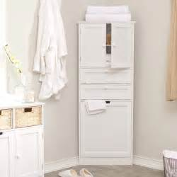 White Corner Bathroom Cabinet Corner Linen Tower With Her White At Hayneedle
