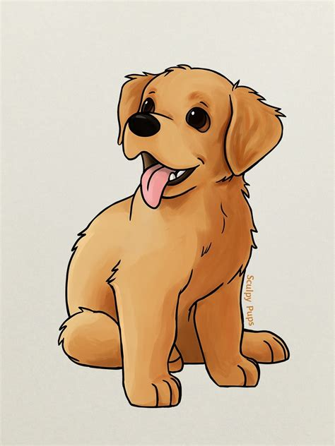 drawing of a golden retriever drawings