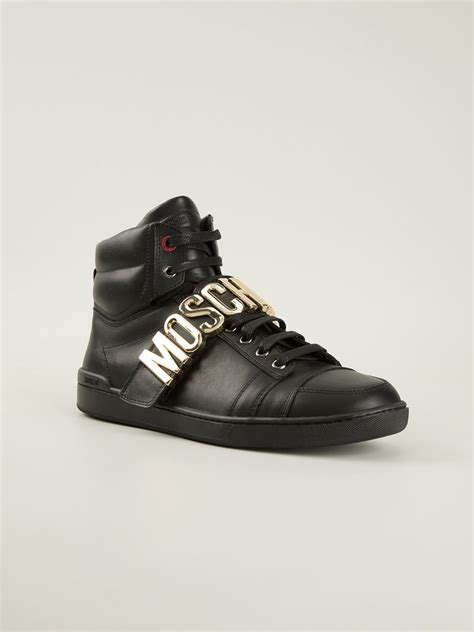 moschino sneakers mens lyst moschino hitop sneakers in black for