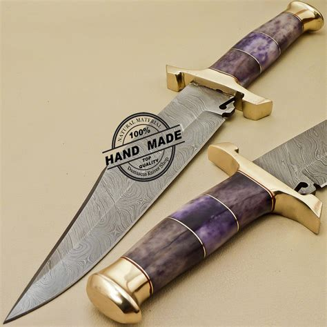 Colored Kitchen Knives damascus bowie knife custom handmade damascus steel