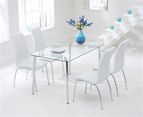 Malia 130cm Glass Dining Table With Calgary Chairs The Dining Chairs Calgary