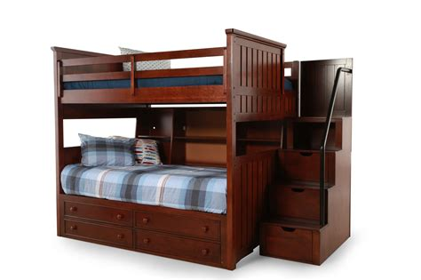 bunk bed with stairs and drawers brown wooden full over full bunk bed with trundle drawers