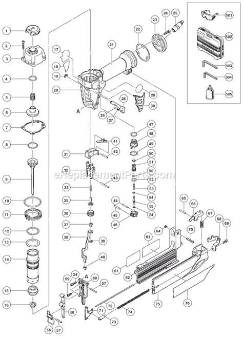 hitachi nail gun parts diagram hitachi nt50ae2 parts list and diagram ereplacementparts