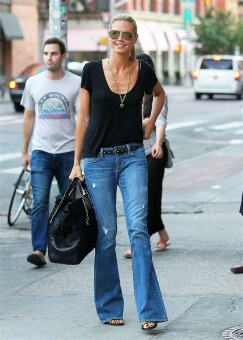 celebrity flare jeans heidi klum in genetic the leaf fit flare jeans in slash