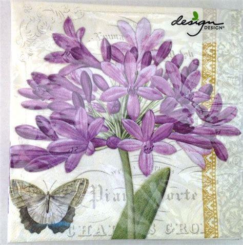 Purple Decoupage Paper - paper napkins for decoupage purple lavender flowers and