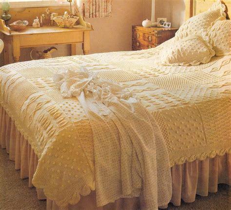 knitted bedspread knitting pattern heirloom aran bedspread cushions knit