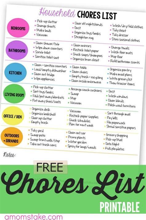 Printable List Of Household Chores printable household chores list a s take