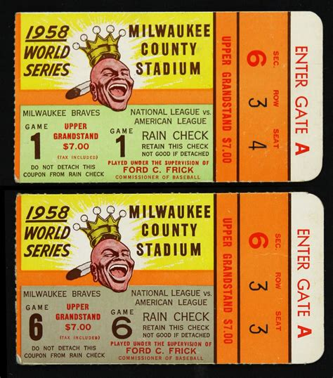 New York Yankees Tickets Prices Starting At 7   lot detail 1958 milwaukee braves new york yankees county