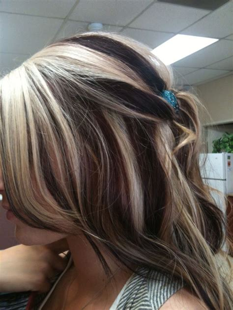 chunking highlights dark hair pictures blonde with red chunks bridal trial run hair pinterest