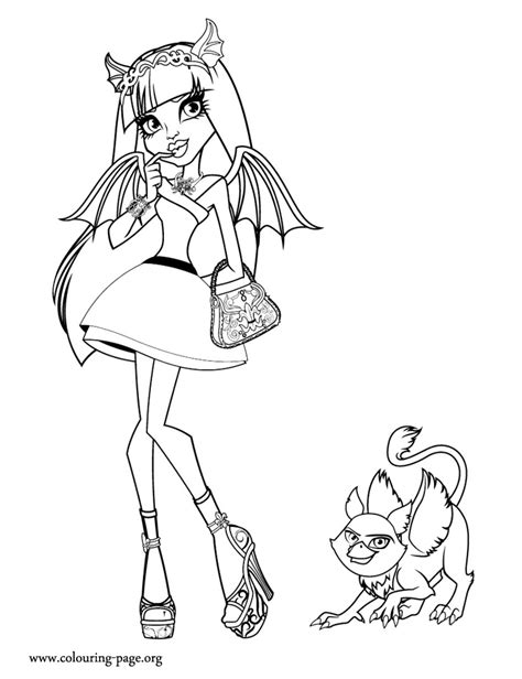 monster high rochelle coloring pages monster high rochelle and her pet roux coloring page