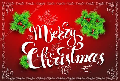 merry christmas l post merry christmas post card calligraphy font vector