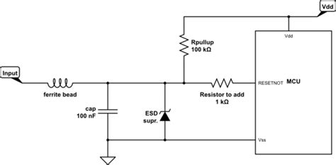 series resistor esd microcontroller how to protect reset pin of mcu from esd strikes electrical engineering