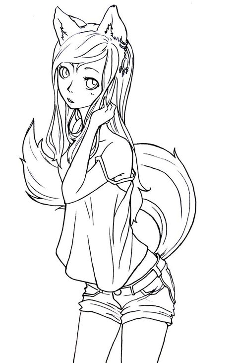 anime wolf girl coloring pages fox girl lineart by komorinight deviantart com lineart