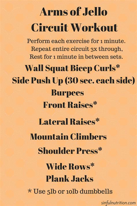 arms  jello upper body circuit sinful nutrition