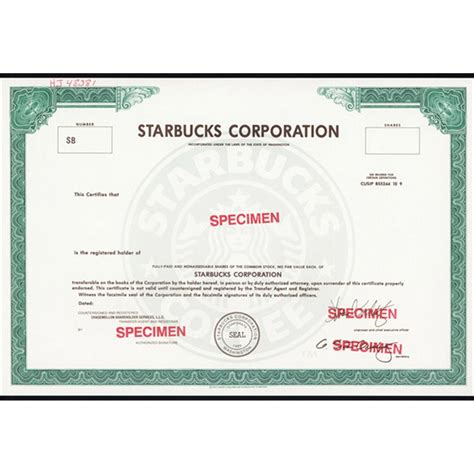 starbucks corporation possible ipo specimen stock certificate