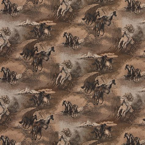 wildlife upholstery fabric beige wild horses galloping themed tapestry upholstery