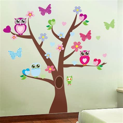 Wall Mural Stickers aliexpress com acheter mignon hiboux arbres stickers