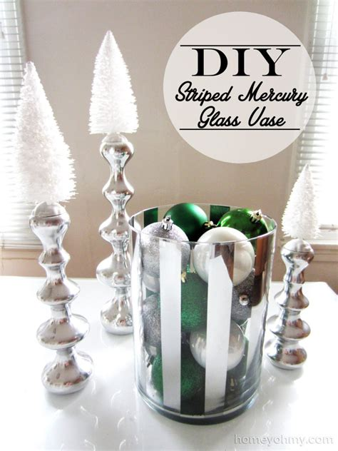 Diy Glass Vase by Diy Striped Mercury Glass Vase Homey Oh