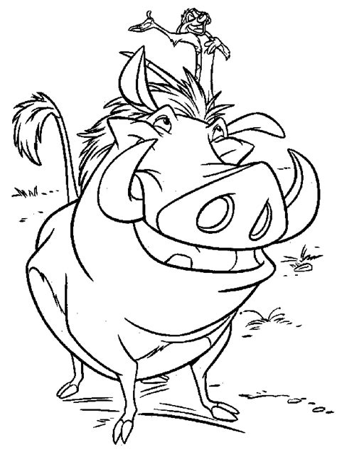 Lion King Pumba And Timon Free Coloring Page ? Animals