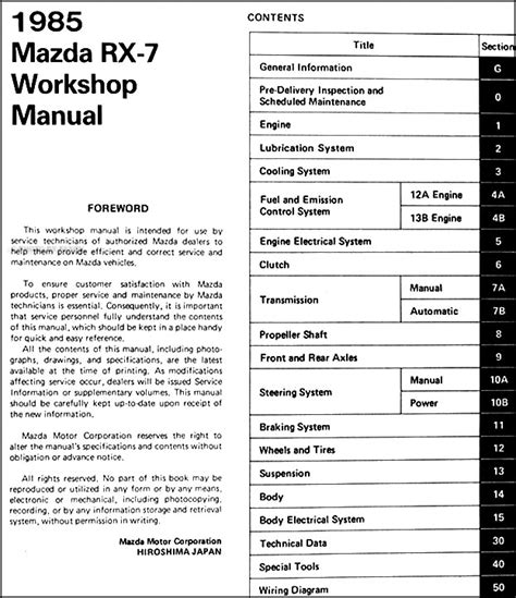 automotive repair manual 1985 mazda rx 7 seat position control 1985 mazda rx 7 repair shop manual original