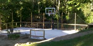 Backyard Basketball There Is The Net Fence Behind The Court And The Hoop