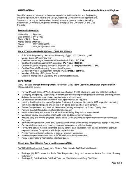 Structural Engineer Resume by Team Leader Structural Engineer C V