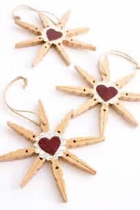 clothespin snowflake ornaments muslin and merlot