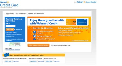 Walmart Credit Card Login Make A Payment