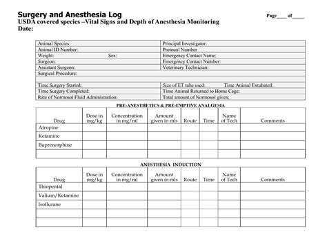 anesthesia record form template best photos of patient log book daily medication log