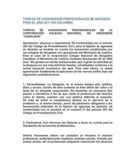 honorarios profesionales de los abogados 2016 en colombia tarifas de honorarios profesionales de abogado para el a 209 o