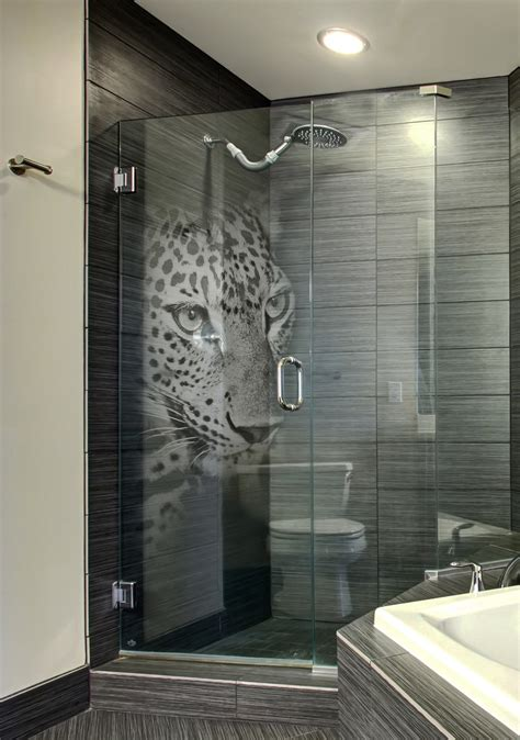 Custom Etched Glass Shower Door With Panther 3d Laser Custom Made Glass Shower Doors
