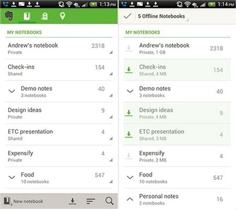 evernote android evernote for android gets new offline notebooks widgets and more