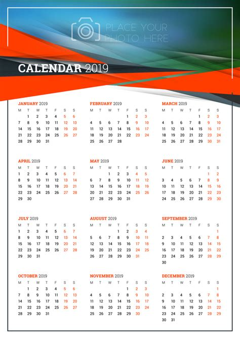 simple 2018 calendar template vector 02 vector calendar