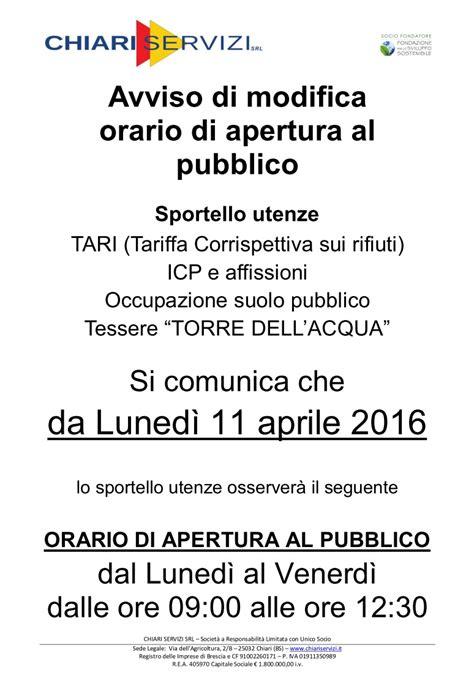 orario sportello chiari servizi dall 11 aprile nuovi orari dello