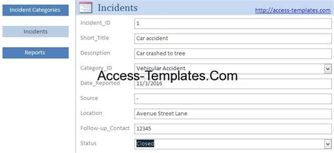 access templates incident management system and report