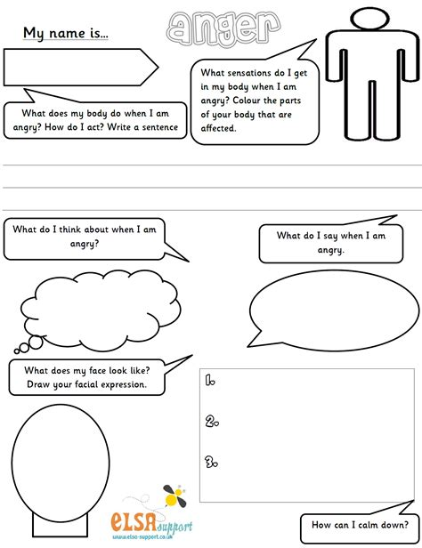 What Is Anger Worksheet by Free Self Esteem Worksheets Fioradesignstudio