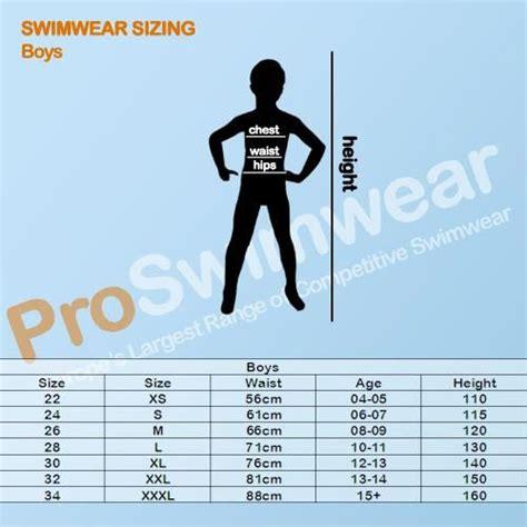 Size Chart Sac Competition Swimwear blueseventy boys size guide