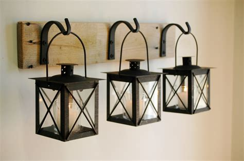 Iron Home Decor | black lantern trio wall decor home decor rustic decor