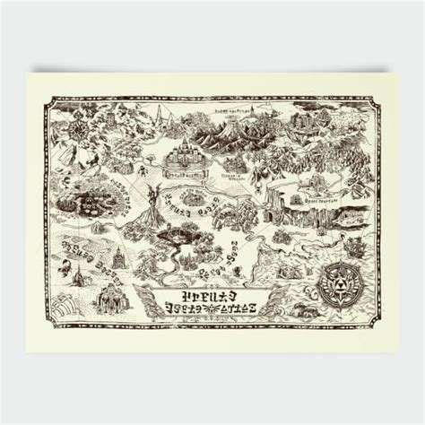legend of zelda map for sale nintendo legend of zelda map print merchandise zavvi