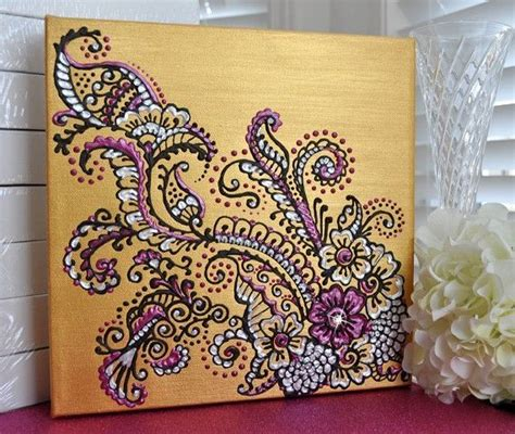 henna mehndi inspired acrylic painting on canvas gold