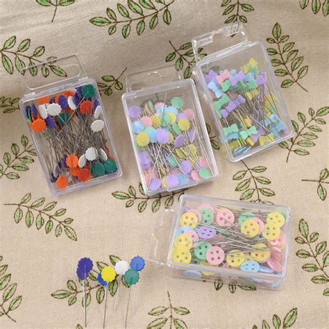 Sewing Patchwork - 100pcs mixed colors sewing patchwork pins flower pins