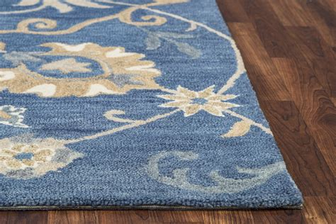 wool rugs traditional motifs vines wool area rug in blue 8 x 10