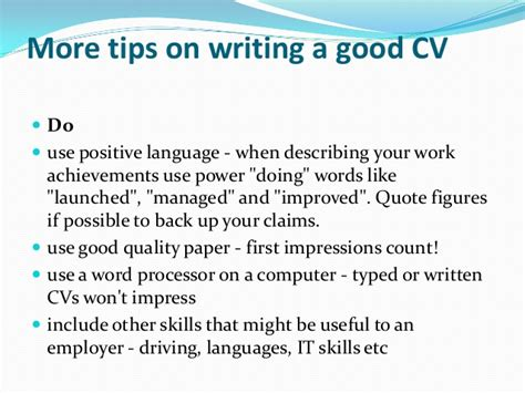 advice on writing a cv tips for writing a cv