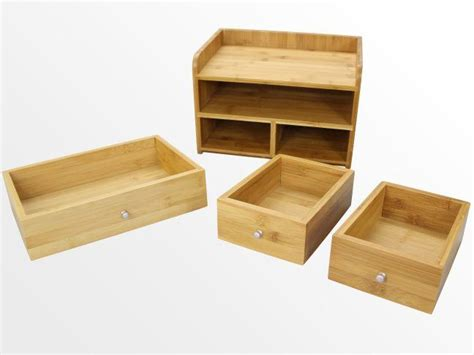 bamboo desk tidy with 3 drawers stationery organiser ebay