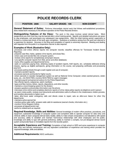 Sle Resume For Records Assistant Records Clerk Cover Letter Vending Machine Repair
