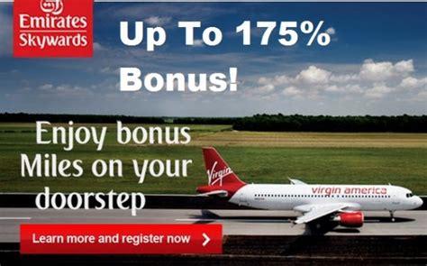 emirates promotion emirates skywards virgin america up to 175 bonus miles