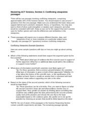 Act Practice Science Section by Act Science Conflicting Viewpoints Passages Test Prep