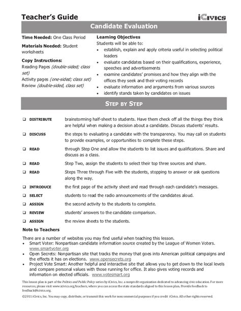 Limiting Government Worksheet Answers by Candidate Eval Icivics